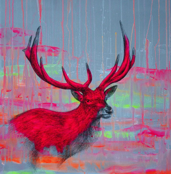 -Wild Skies-S- acrylic- spray paint and pencil on linen- 50x50x4cm 112012
