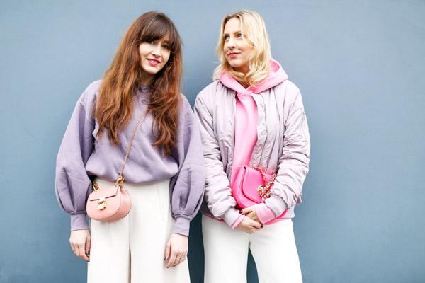 belle & bunty london fashion week street style looks white wide leg and hoody