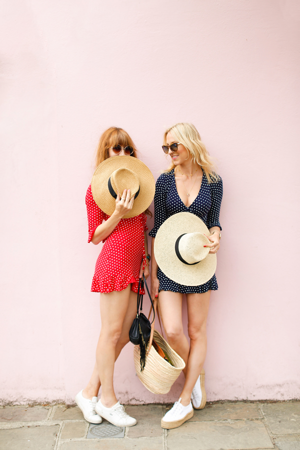 belle & Bunty london street style colourful houses pink polka dot dress bloggers