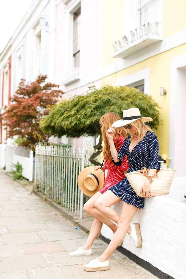 belle & Bunty london street style colourful houses pink polka dot dress bloggers