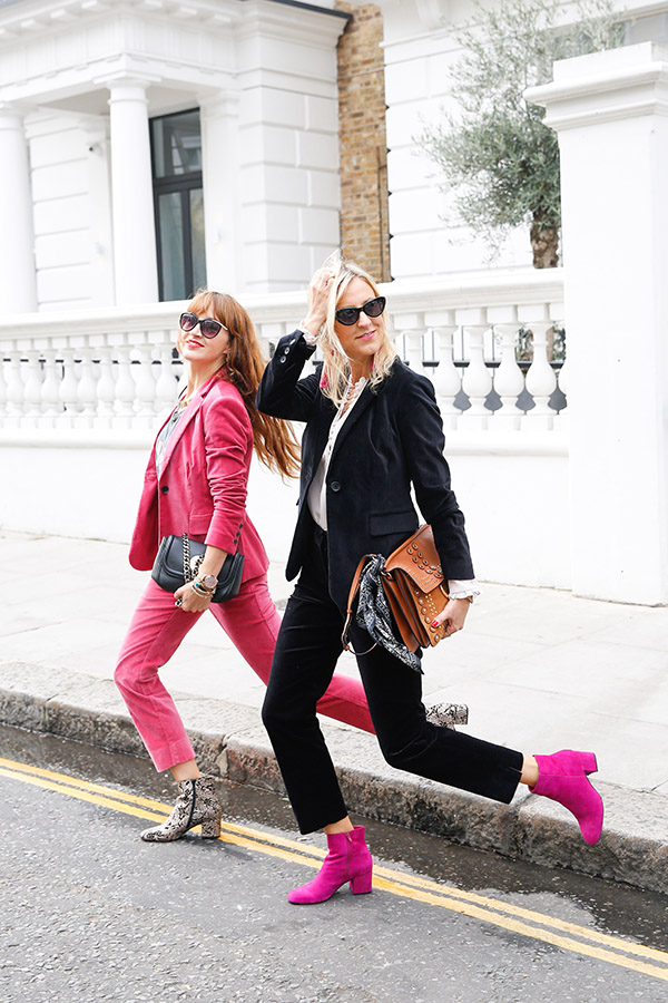 belle & bunty dune London aw17 street style fashion blog boden pink velvet suit