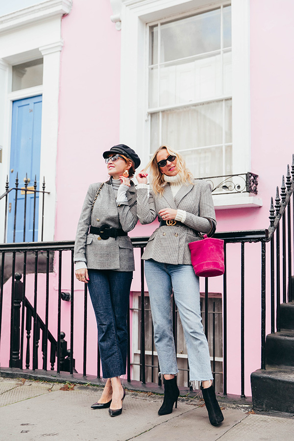 BELLE & BUNTY LONDON BLOGGERS BLAZERS AND BELTS notting hill biscuiteers Gucci belt pink house