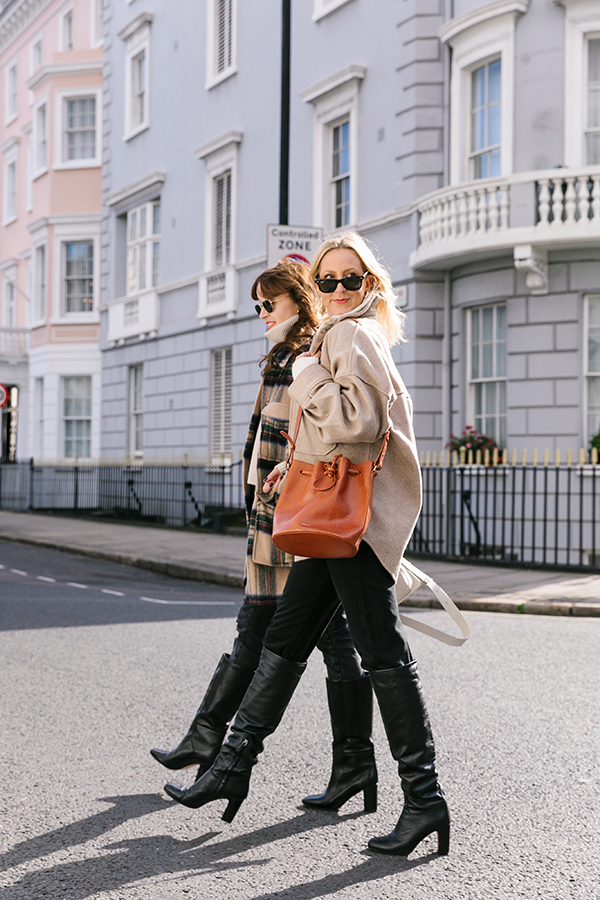 Belle & bunty london bloggers influencers Shackets coat long knee high boot edit